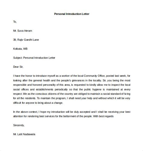 Business Letter Self Introduction personal letter template 40 free sle exle format