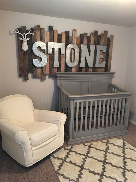 Bed In Wall Name - rustic wood pallet sign with galvanized metal letters