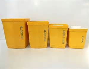 Yellow Kitchen Canisters vintage yellow retro kitchen canisters mustard on etsy 30 00