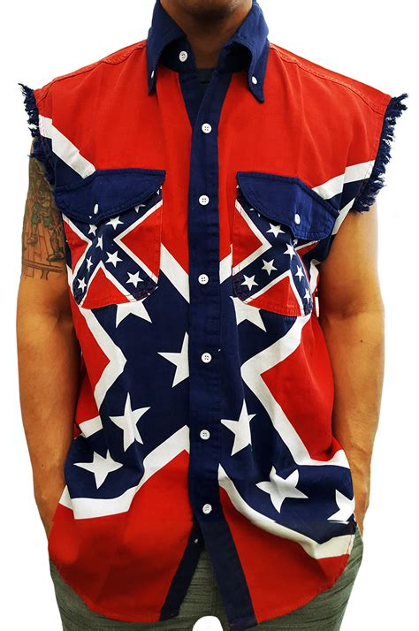 Rebell Overall confederate rebel flag pattern sleeveless button up shirt