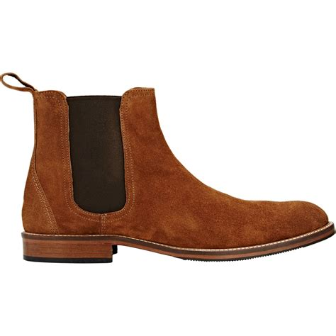 barneys new york suede chelsea boots in brown for lyst