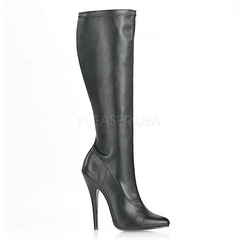stretch knee high boot stiletto heel black domina 2000