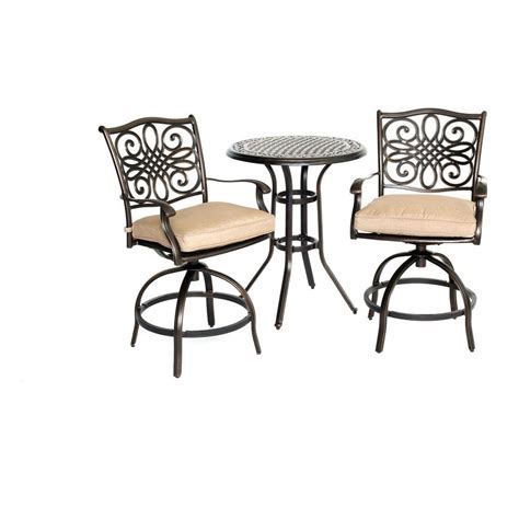 Hanover Traditions 3 Piece Round Aluminum Patio Bar Height Dining Set with Natural Oat Cushions
