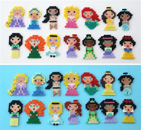 Mini Perler 26mm 2 mini disney princesses perler by theplayfulperler on
