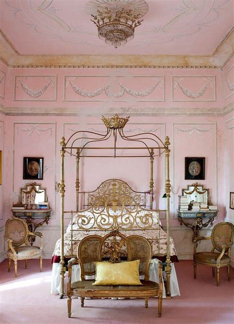 opulent pink bedroom  gilded furniture stenciled