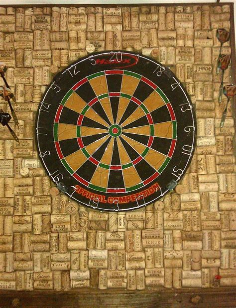 dart board made out of wine corks for the home garden
