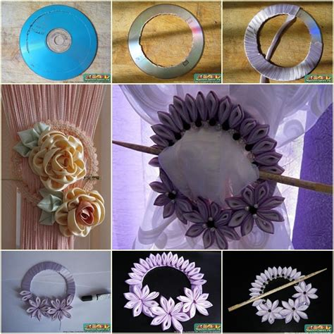 cd curtain diy ribbon flower curtain knot from old cd
