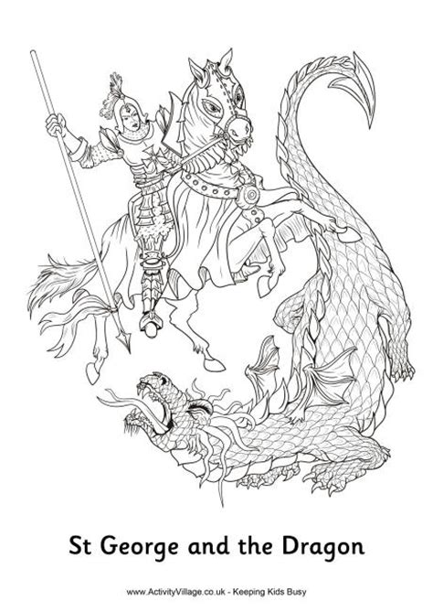 st george and the dragon colouring page cc cycle 2
