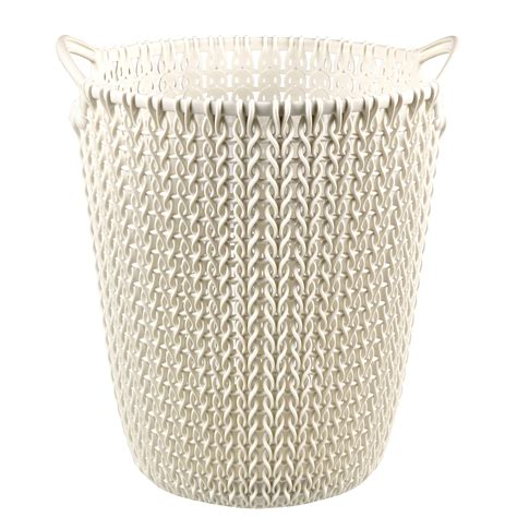 Curver Knit by Curver Knit Effect Oasis White Plastic Circular Paper Bin