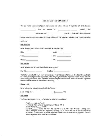 blank rental agreement template blank lease template 6 free word pdf documents