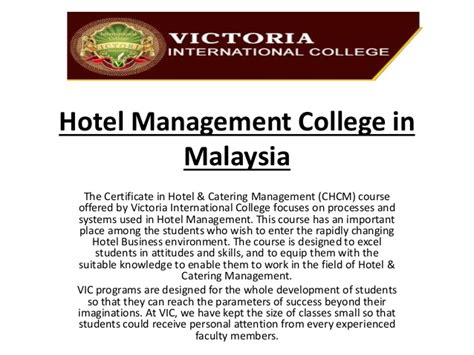 Mba Colleges In Malaysia by Hotel Management College In Malaysia At