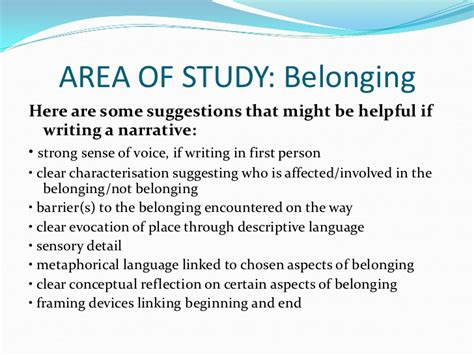 Belonging And Place Thesis