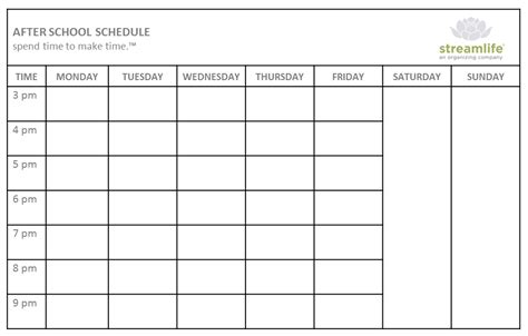weekly college schedule template after school weekly planner and schedule template v m d