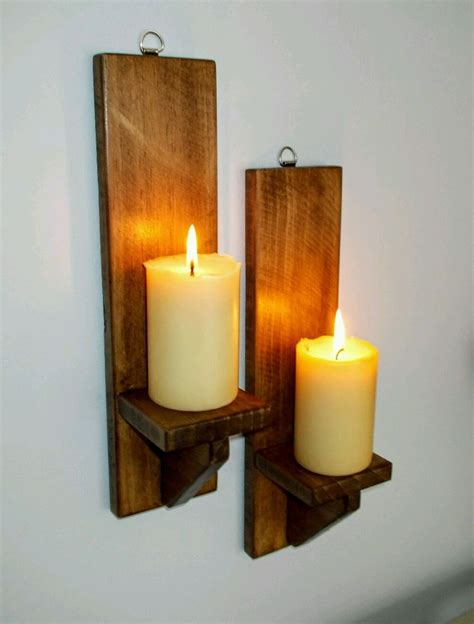 Rustic Candle Holders by Sconce Wooden Candle Holder Rustic Wall Sconce Jar