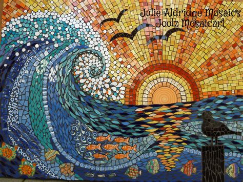 pattern for mosaic art sunset wave in competition mosaics