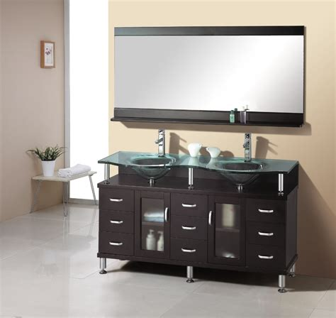 double sink vanity small bathroom 61 inch double sink bathroom vanity in espresso with glass
