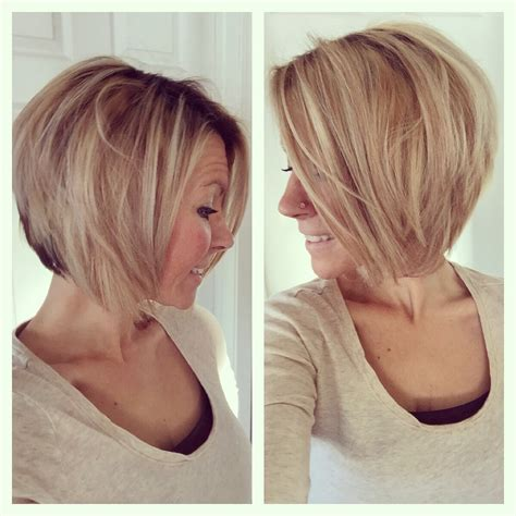 long graduated layers with a side angled or sweeping bang short medium angled bob haircut reverse bob blonde
