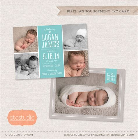 Birth Announcement Template Photo Collage Elegant Baby Cb024 Psd Flat Card By Otostudio On Baby Announcement Templates