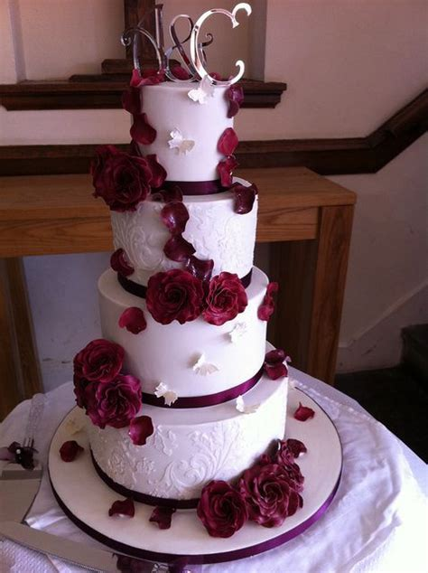 burgundy wedding   tier wedding cake   Flickr   Photo
