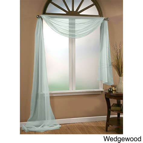 wedgewood blue curtains vcny infinity sheer window scarf valance 54x216