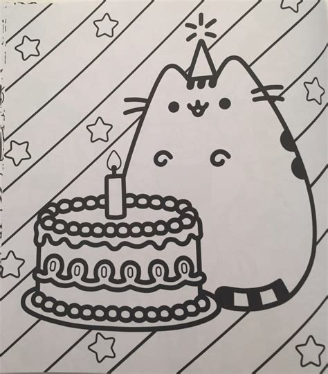 happy birthday cat coloring page pusheen coloring book coloring queen