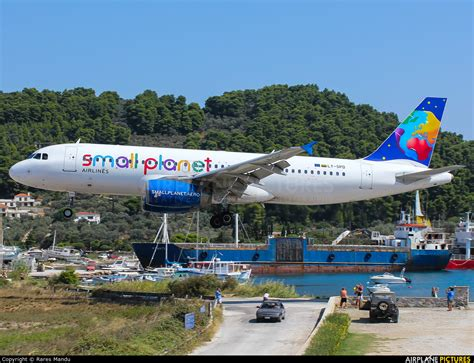 small plant ly spd small planet airlines airbus a320 at skiathos