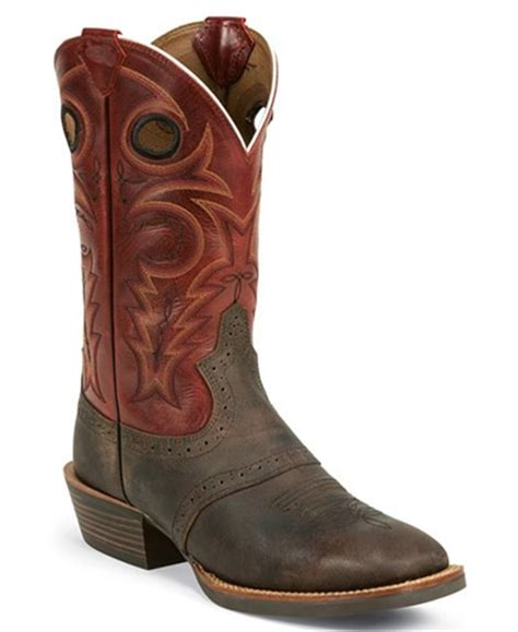 justin silver boots justin silver saddle v cowboy boots square toe