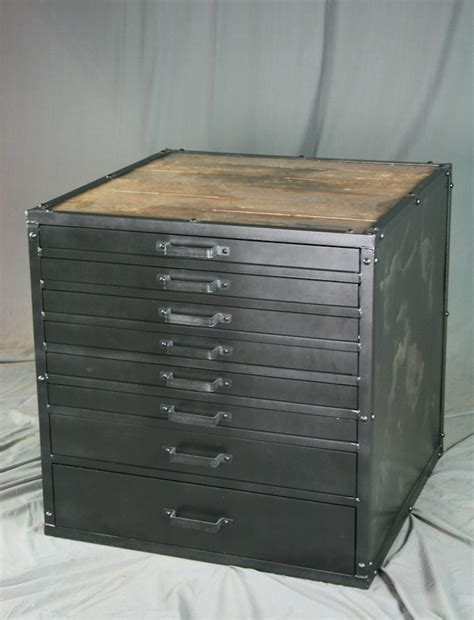 Vintage Metal File Cabinet Combine 9 Industrial Furniture Vintage Metal Flat File Cabinet