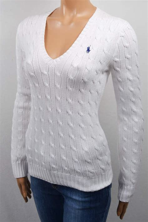 white cable knit sweater womens new ralph womens xs s m l xl white cable knit