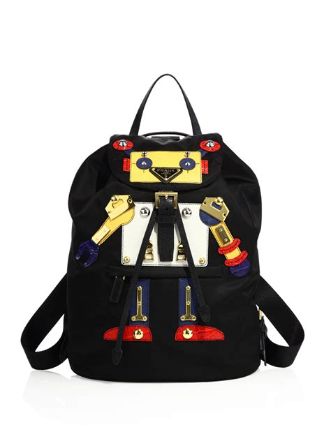 The Designer Prada Dressed Robot Tote by Lyst Prada Robot Backpack In Black