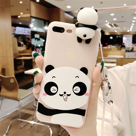 Best Squishy Iphone 7 Soft Motif Timbul Panda Rabbit Cat Cloud kisscase lovely panda cases for iphone 7 8 plus cover soft silicone floral protect cover 2