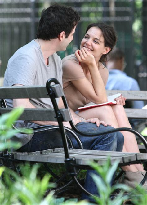 film love katie katie holmes is picture of love in soaking wet fountain