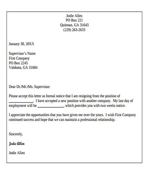 Business Resignation Letter Sle by Basic Business Letter Template 28 Images 8 Basic Resignation Letter Template Resign Letter