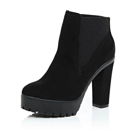 river island black cleated sole ankle boots in black lyst