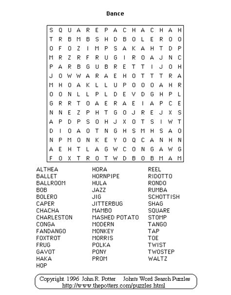printable jazz word search john s word search puzzles dance