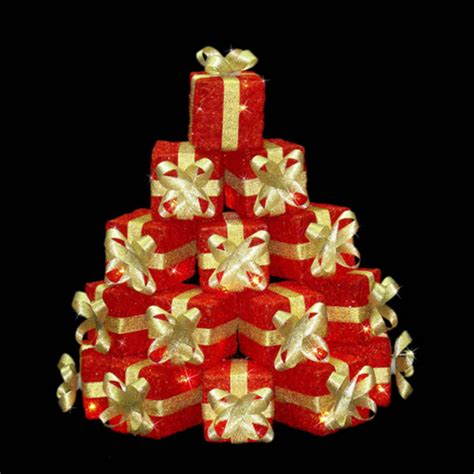 festive light up gift box stack christmas decoration red