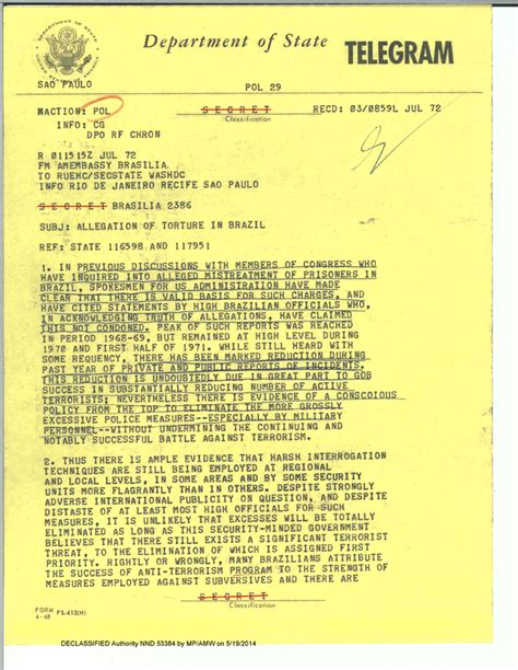 Government Records Made In 1973 Revealed That The Fbi Brazil Techniques Revealed In Declassified U S Documents