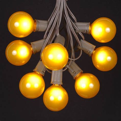 100 Yellow G50 Globe String Light Set On Brown Wire Yellow String Lights