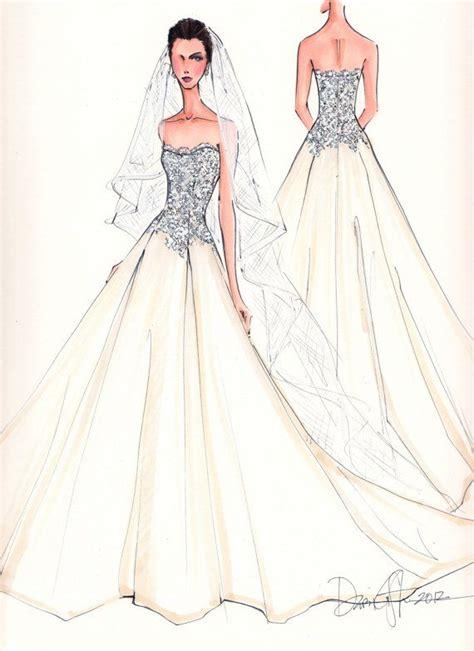 fashion illustration wedding dresses custom wedding gown illustration front and back