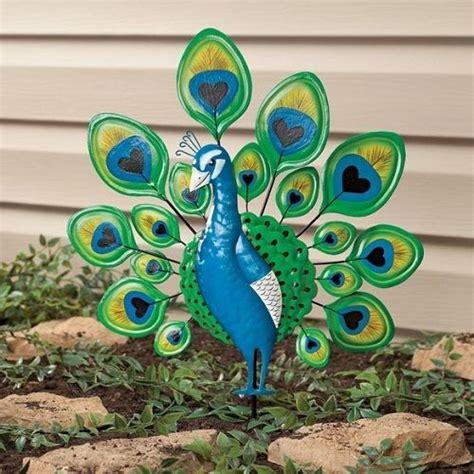 Peacock Garden Decor by Peacock Garden Stake Decorative Metal Bird Yard