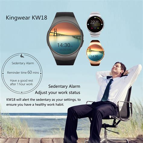 Kingwear Kw18 Smartwatch Bluetooth Ios Android Sim Card Slot Hitam kingwear kw18 bluetooth smart phone touch screen