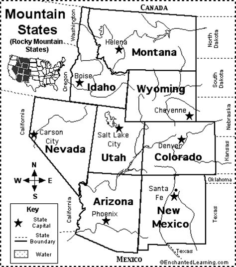 blank map of mountain states