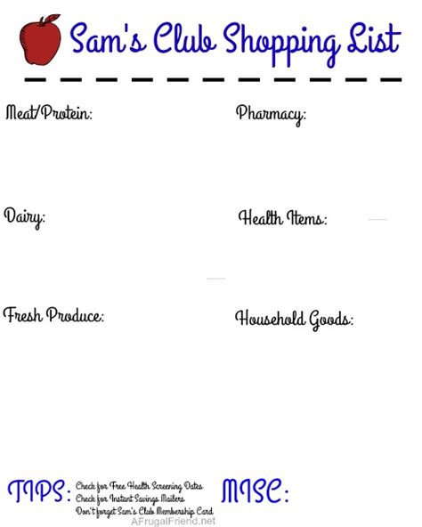 An Early Start To A Healthier Year Free Printable Finding Debra Sam S Club Shopping List Template