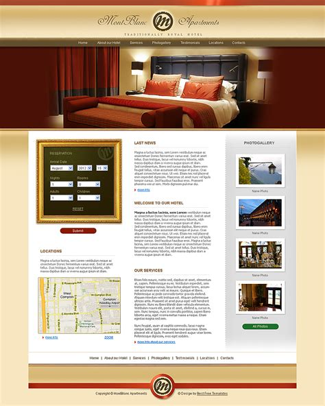 free hotel template free bed breakfest templates free
