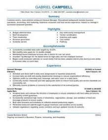 Resume Summary Statement For General Manager General Manager Resume Sle My Resume