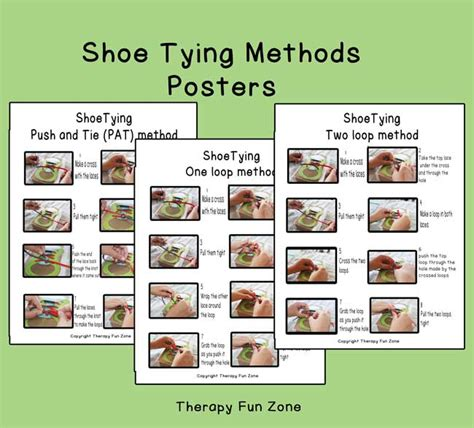 shoe tying methods poster therapy zone