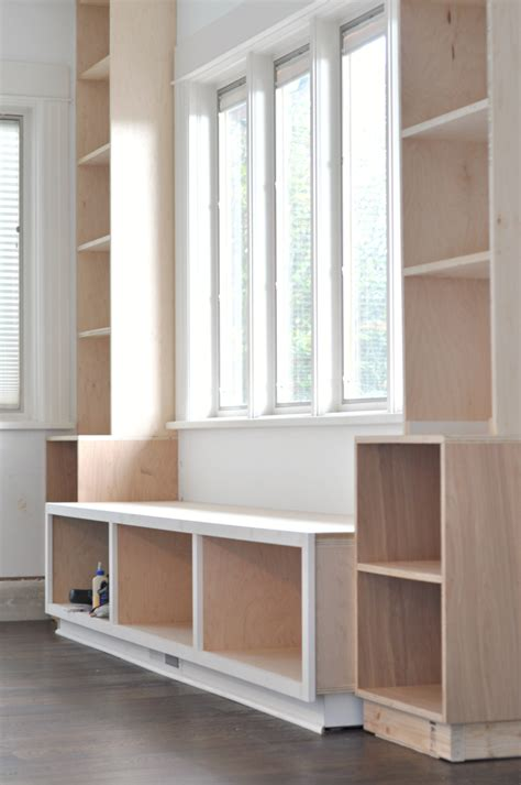 buy window seat built in bookshelves diy