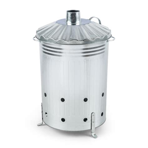 Free Standing L by Free Standing Garden Waste Disposal Rapid Burn Barrel 90 L Capacity Silver Ebay