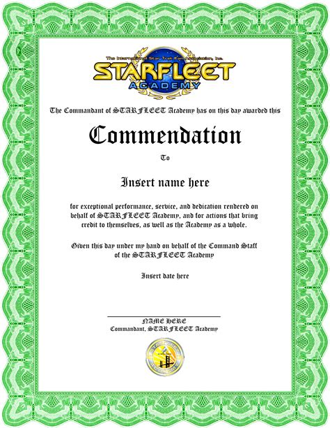 certificate of commendation template course completion certificate template free gallery