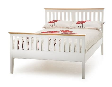 White Wooden Bed Frames Uk Serene Grace 6ft King Size White Wooden Bed Frame With High Foot End By Serene Furnishings